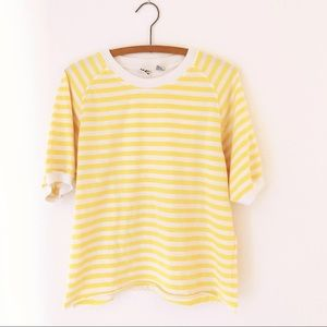 Vintage 90's cropped striped tee yellow t-shirt L